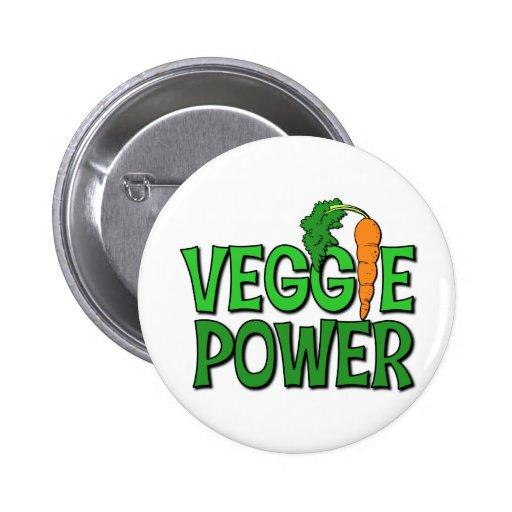 Regalo del poder del Veggie Pin Redondo De 2 Pulgadas