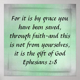 Regalo del poster del 2:8 de Ephesians del verso d