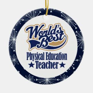 Regalo del profesor de la educación física adorno navideño redondo de cerámica