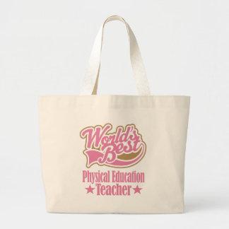 Regalo del profesor de la educación física (mundos bolsa tela grande