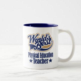 Regalo del profesor de la educación física para taza dos tonos