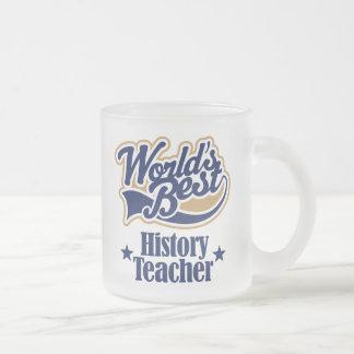 Regalo del profesor de la historia para (mundos taza de cristal