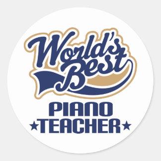 Regalo del profesor de piano pegatina redonda