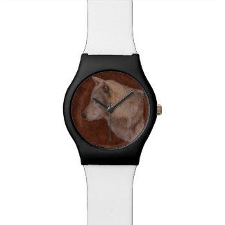 Regalo del retrato de la fauna de White Wolf Reloj