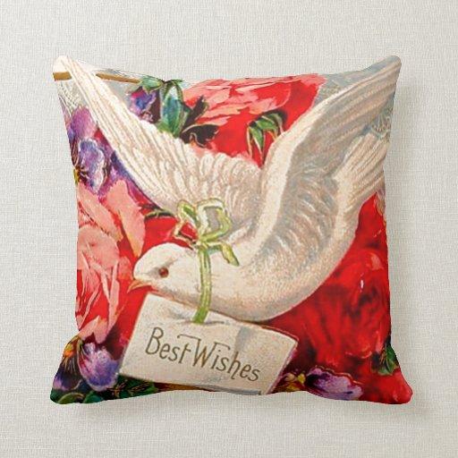 Regalo del reversible de los rosas de las palomas  almohadas