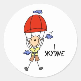 Regalo del Skydiver Etiqueta Redonda