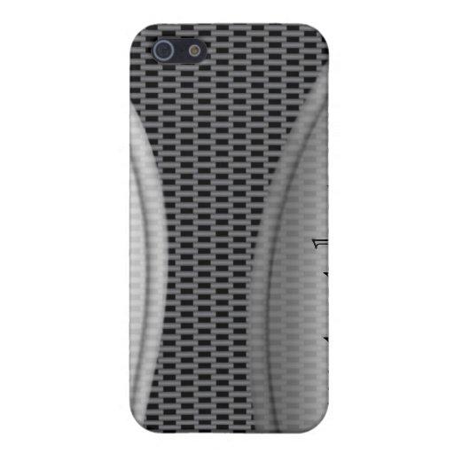 regalo del texto del metal 3D del carbono del caso iPhone 5 Carcasa