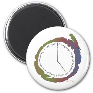 Regalo del tiempo (reloj) imán redondo 5 cm