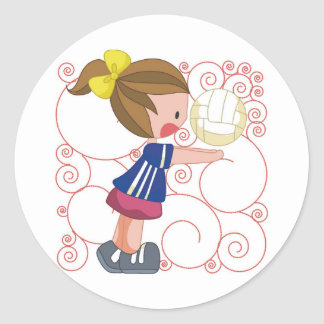 Regalo del voleibol pegatina redonda