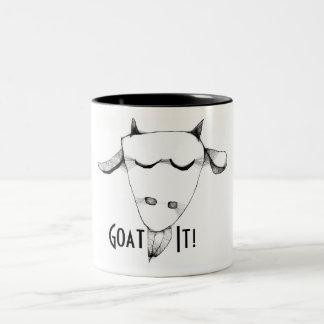 Regalo divertido con la cabra taza de café de dos colores