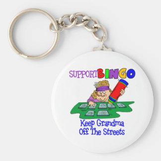 Regalo divertido de la abuela del bingo llavero redondo tipo pin