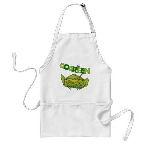 Regalo divertido de la ecología de la rana verde delantal