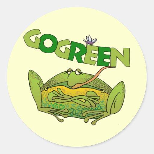 Regalo divertido de la ecología de la rana verde pegatina redonda