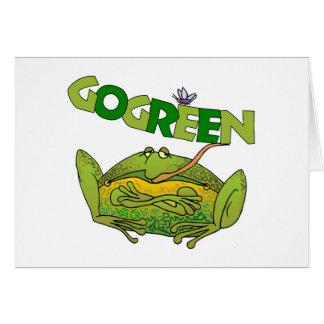 Regalo divertido de la ecología de la rana verde tarjeta de felicitación