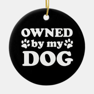 Regalo divertido del amante del perro adorno redondo de cerámica