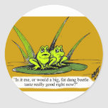¡Regalo divertido del dibujo animado de la rana! Pegatina Redonda