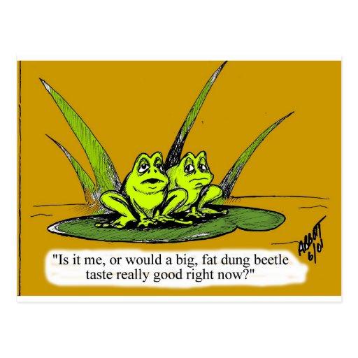 ¡Regalo divertido del dibujo animado de la rana! Postal