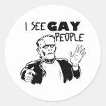 Regalo divertido del gay de Halloween Pegatina Redonda