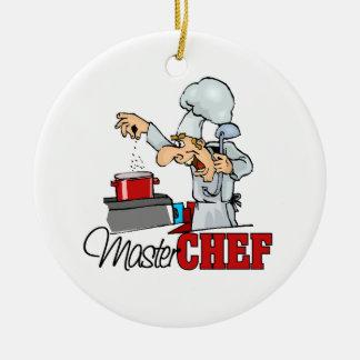 Regalo divertido del maestro cocinero adorno navideño redondo de cerámica