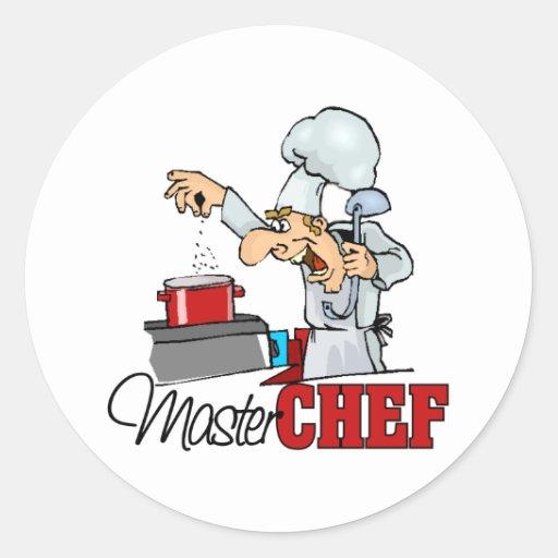 Regalo divertido del maestro cocinero pegatinas redondas