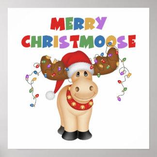 Regalo divertido del navidad del reno póster