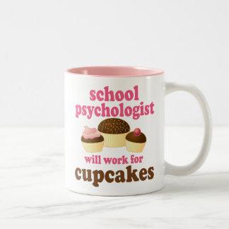 Regalo (divertido) del psicólogo de la escuela taza de café de dos colores