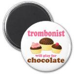 Regalo divertido del trombón del chocolate imán para frigorífico