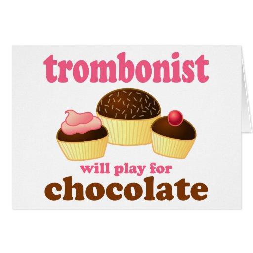 Regalo divertido del trombón del chocolate tarjeta de felicitación