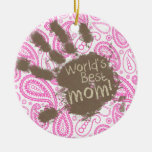 Regalo divertido para la mamá; Paisley rosada Ornamentos De Reyes Magos
