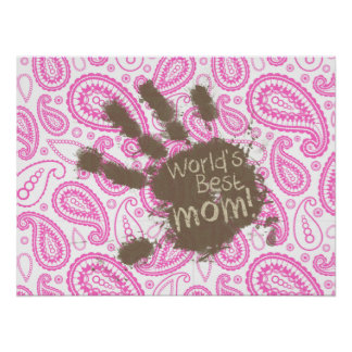 Regalo divertido para la mamá; Paisley rosada Posters