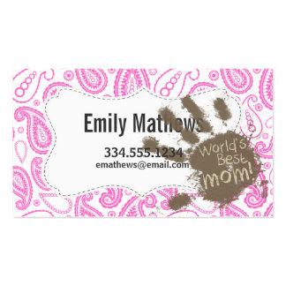 Regalo divertido para la mamá; Paisley rosada Tarjetas De Visita
