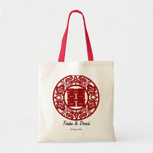 Regalo doble chino del bolso del boda de la felici bolsa de mano
