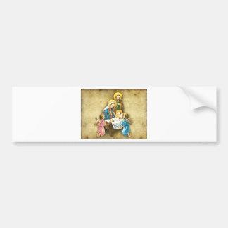 Regalo dulce simple de la imagen de la natividad d etiqueta de parachoque