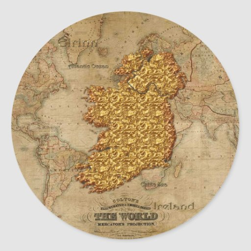 Regalo educativo del mapa artístico hermoso pegatina redonda