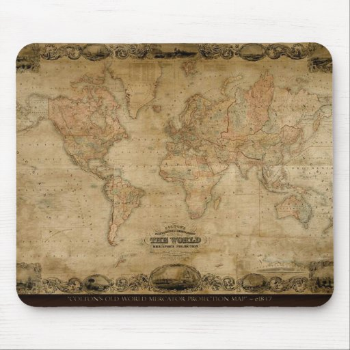 Regalo educativo del mapa artístico hermoso tapetes de raton