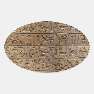 Regalo egipcio antiguo del diseñador de los pegatina ovalada
