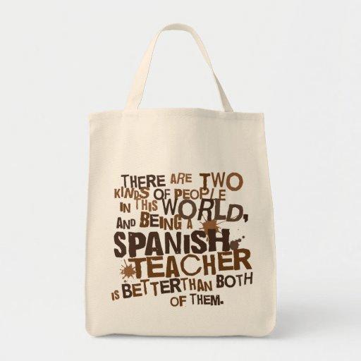 Regalo español del profesor bolsas lienzo