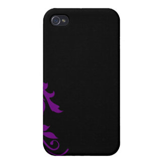 regalo especial floral púrpura ractive iPhone 4 carcasa