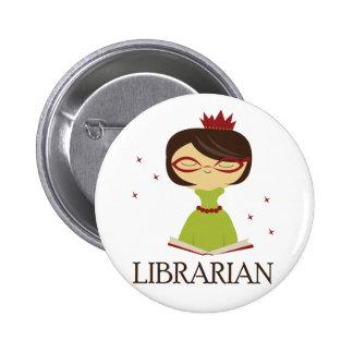 Regalo estudioso de la biblioteca del pin redondo de 2 pulgadas