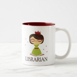 Regalo estudioso de la biblioteca del taza dos tonos