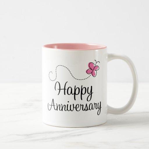 Regalo feliz del aniversario tazas de café