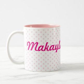 Regalo femenino del lunar rosado blanco del ♥ taza de dos tonos