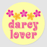 Regalo floral del amante de Jane Austen Darcy Etiquetas Redondas