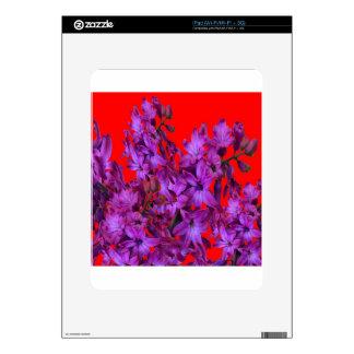 Regalo floral ROJO del jacinto púrpura Amethyst iPad Calcomanías