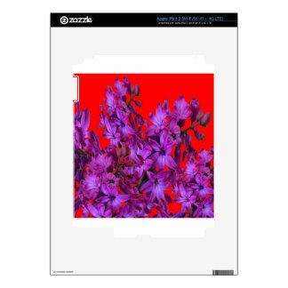 Regalo floral ROJO del jacinto púrpura Amethyst Pegatina Skin Para iPad 3
