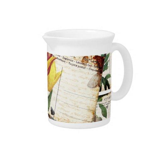 Regalo floral viejo del diseño de las postales del jarras para bebida