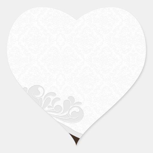Regalo floral y del damasco gris único de pegatina en forma de corazón