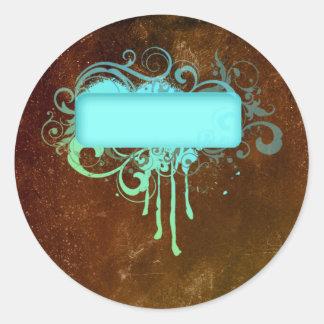 Regalo fresco del goteo de la pintura del cobre pegatina redonda