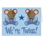 Regalo gemelo lindo de los ratones del muchacho felicitacion