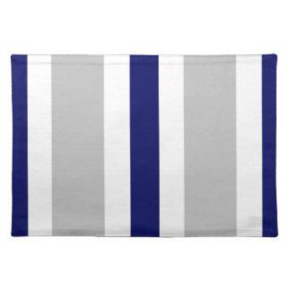Regalo gris de Placemat de la raya de los azules m Mantel Individual